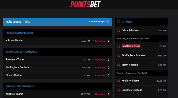 PointsBet Betting Markets